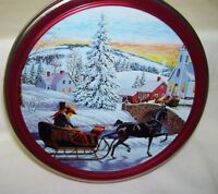Winter Scene of Horse and Sleigh Tin Box