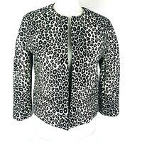 New Ann Taylor Womens Sz Small Petite Leopard Animal Print Open Front Blazer NWT