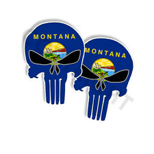 """Punisher Stickers Montana State Flag Skull Decals - 3"""" tall 2-pack"""