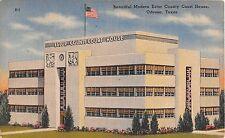 c.1940 Ector County Court House Odessa TX post card Art Deco Linen