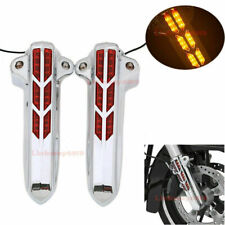 Amber LED Front Fork Lower Leg Cover Fit For Harley Touring Street Glide 2014-19