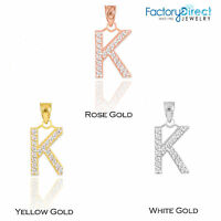 """10k 14K Yellow Rose White Gold Letter """"K"""" Diamond Initial Pendant Only Necklaces"""