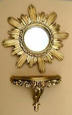 2 Piece Set Wall Mirror + Console Wall Bracket Sun IN Gold Baroque Antique Repr