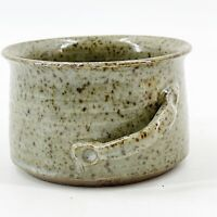 Vintage Stoneware Studio Pottery Cup Dish Earthtone Speckled Glaze Signed AR