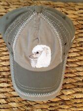 EMBROIDERED DOG BREED WHITE POODLE LOVER GIFT OLIVE KHAKI BASEBALL CAP HAT