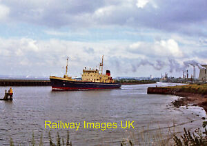 Photo - A vessel on the Manchester Ship Canal at Ellesmere Port  c1986