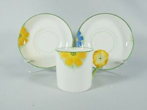 Art Deco Aynsley Flower Handle Coffee Demitasse Cup Saucer Set Blue Orange 5102