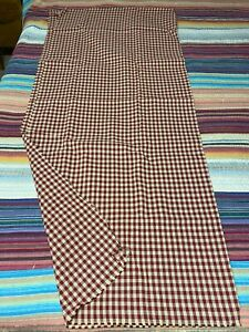 """Vtg 90s Gingham Plaid Red/Tan Cotton checked Upholstery 53""""x58"""" Yardage Cutter"""