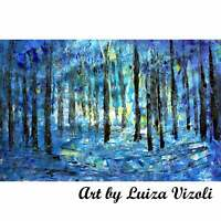 BLUE FOREST Light Acrylic Original Abstract Painting Palette OIL Trees Landscape
