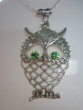 owl charm pendant Necklace antiqued silver tone  costume jewellery green gift