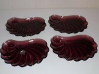 Vintage Hazel Atlas Moroccan Amethyst Purple Shell Swirl Snack Plate Trays