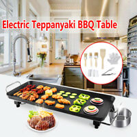 Electric Teppanyaki Table Barbecue Grill Griddle Home Garden Camp BBQ Hot