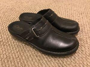 Clarks Bendables Womens Clogs Sz 6.5 Black Leather Mule