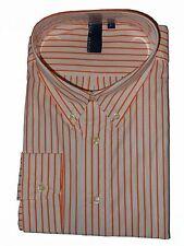 TRUE ROCK Men's Dress Shirt sz XL White / Orange Stripes Long Sleeves JFK107