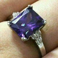 Sparkling Princess Amethyst Ring Women Jewelry 14K White Gold Plated Nickel Free