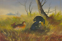 C. Lovell - Signed 20th Century Oil, Blue Pheasants in Grasslands