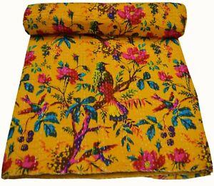 Indian Handmade Kantha Quilt Reversible Bird Print Bedspread Bedding Cotton Twin