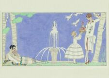 Resting by the Fountain, 1920, GEORGE BARBIER Vintage Classic Art Deco Poster