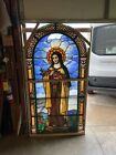 An St Therese Antique Stained Glass Figural Window 40 X 74