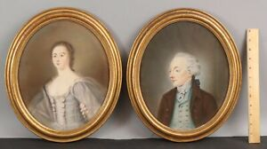 Pair Antique 18thC Early Portrait Pastel Drawings Man & Woman Husband Wife, NR