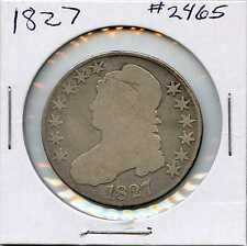 1827 50C Square Base 2 Capped Bust Silver Half Dollar. Circulated. Lot #2128