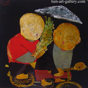 Small friends Orig lacquer P Thanh Nga b 1974 HIFAC1998   & another cheaper ...