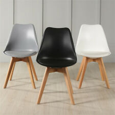 2/4/6 Tulip Dining Chairs Eiffel Inspired Solid Wood Legs PU Padded seat