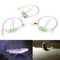 5X Anti-Winding 3Swivel String Fishing Hook Steel Rigs Wire Leader Hook Steel GF