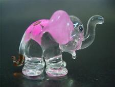 Decorative Glass ELEPHANT Pink Ears & Flower Design Painted Glass Animal Gift