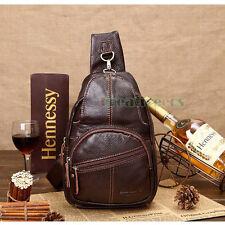 Men Genuine Leather Vintage Shoulder Messenger Bag Travel Cross Sling Chest Pack