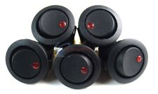 EC-1213 Black Round Rocker Switch with Red LED 3 Prong  CAR SPST TOGGLE 5 PC