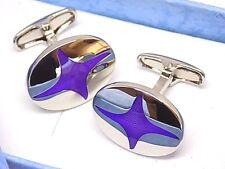 Men's Purple Oval Cufflinks, Gift Boxed!