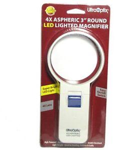"UltraOptix LED Lighted Magnifier - 4X Round 3"""