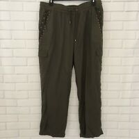 NWT Loralette Casual Army Green Relaxed Embroidered Plus Size 2X Military Pants