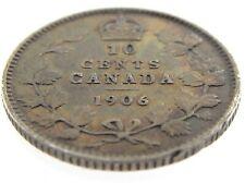 1906 Canada Ten Cents Silver Dime Canadian Circulated Edward VII Coin M810