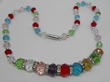 Multi Colour Faceted Graduated Crystal Necklace with Magnetic Clasp