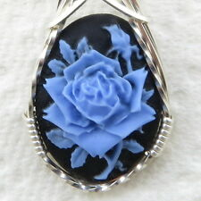Blue Rose Cameo Pendant .925 Sterling Silver Jewelry Resin