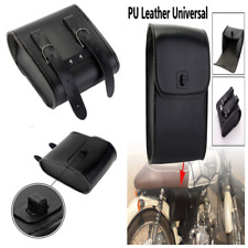Motorcycle Bike Black PU Leather Front Handlebar Side Tool Bag Luggage SaddleBag
