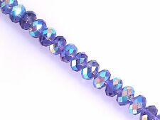 10 Celestial Crystal Faceted Purple Aurora Borealis 8x10mm Round Rondelle Beads