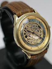Vintage - Fossil SK-5095 Skeleton Quartz Analog Men's Gold Tone Wrist Watch
