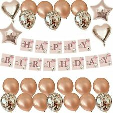 FLORAL ROSE GOLD HAPPY BIRTHDAY BUNTING BANNER FOIL BALLOONS DECORATIONS SET