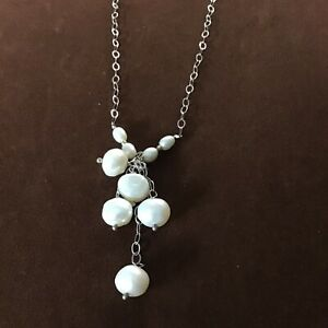 Vintage 925 Silver Pendant With Freshwater Pearls / 20 Inches Approximately