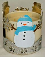 Bath & Body Works Glittery Snowmen Snowflakes 3 Wick Candle Sleeve Holder