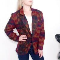Vintage Womens S Tribal Aztec Western Boxy Blazer Jacket 80-90s