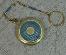 More details for rare edwardian tiffany & co 14ct gold & enamel compact and chain d2058