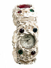 WOMEN'S SILVER FINISH FUNKY LINKS ROUND CASE WHITE DIAL  ANALOGE WATCH