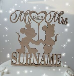 Wooden Mickey and Minnie Mouse wedding/ anniversary cake topper decorations