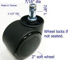 "Oajen 2"" soft wheel chair caster, hardwood floor, auto lock, 5 pcs, safety"
