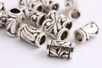10 pcs Tibetan silver Spacer beads tube Bracelets necklaces Charms Findings 12mm