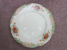 WOODS IVORY WARE ENGLAND dinner plate 1920s  flowers on cream